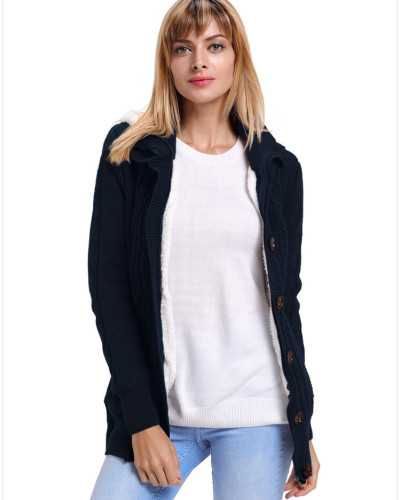 Blue Warm casual hooded long sleeve coat