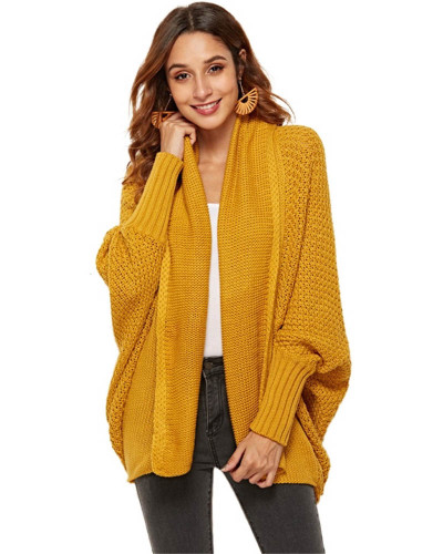 Yellow Knit sweater cardigan plus size women's multicolor coat