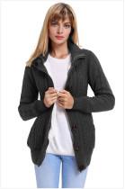Drak Gray Warm casual hooded long sleeve coat