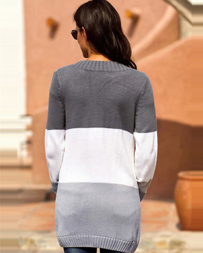 Color Long sleeve pocket knitted sweater