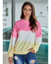 Pink Gradient loose round neck long sleeve top