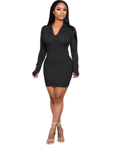 Black Solid color long-sleeved pit striped hip dress