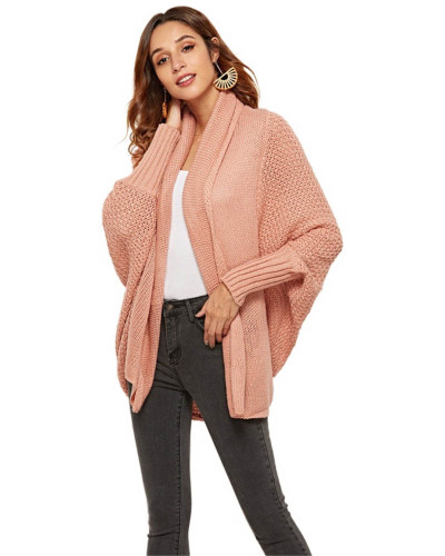 Pink Knit sweater cardigan plus size women's multicolor coat