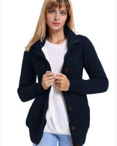 Blue Warm casual hooded long sleeve coat