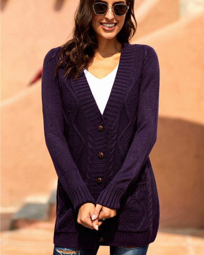Purple Long sleeve pocket knitted sweater