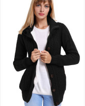 Black Warm casual hooded long sleeve coat