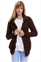 Brown Warm casual hooded long sleeve coat
