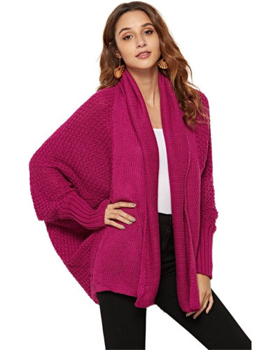 Rose red Knit sweater cardigan plus size women's multicolor coat