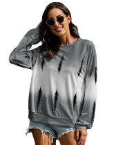 Light Gray Gradient loose round neck long sleeve top