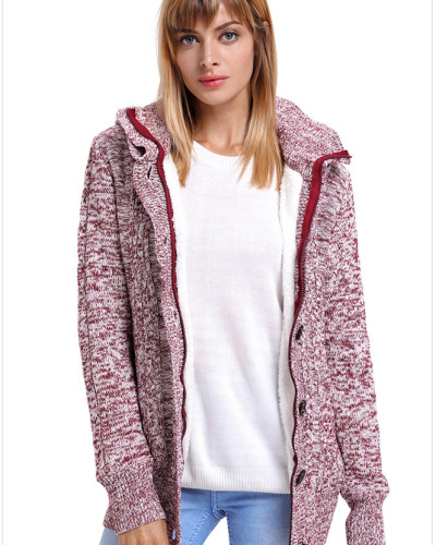Red Warm casual hooded long sleeve coat