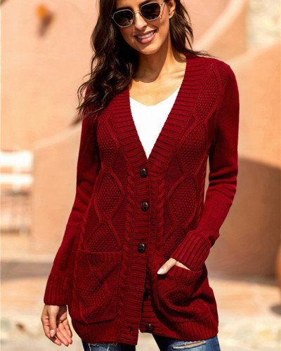Red Long sleeve pocket knitted sweater