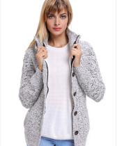 Gray Warm casual hooded long sleeve coat