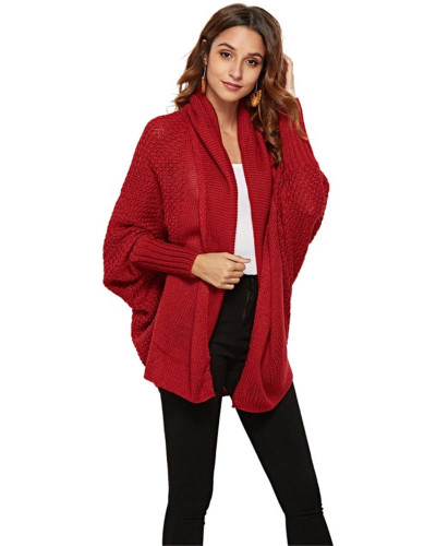 Red Knit sweater cardigan plus size women's multicolor coat