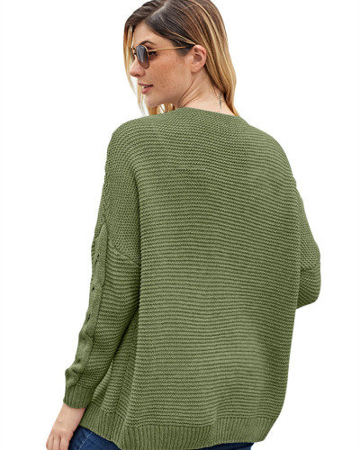 Green Solid color mid-length coat