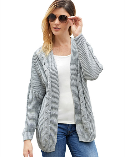 Gray Solid color mid-length coat