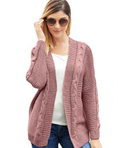Pink Solid color mid-length coat