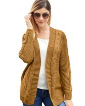 Dark Brown Solid color mid-length coat