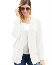 White Solid color mid-length coat