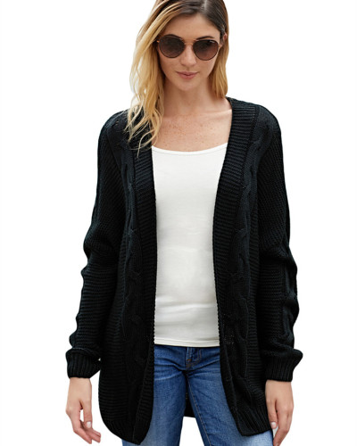 Black Solid color mid-length coat
