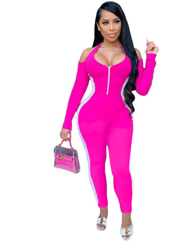 Pink Autumn personality color matching sexy jumpsuit