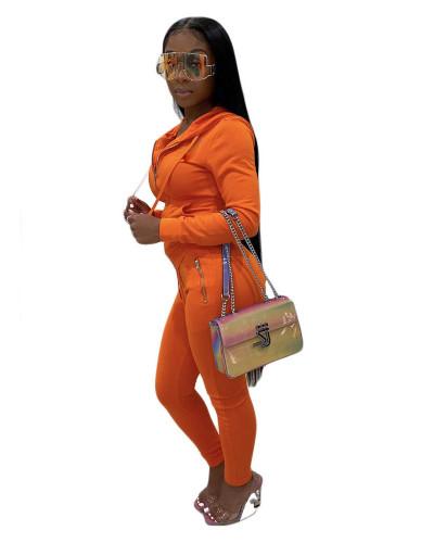 Orange Pure color zipper fashion casual sports two-piece suit