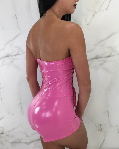 Sexy slim tube top strappy one-piece leather pants