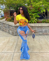 Personalized front and rear ripped denim flared pants