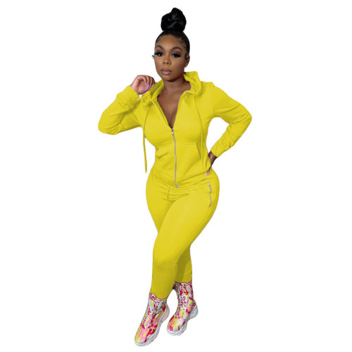 Yellow Pure color zipper fashion casual sports two-piece suit