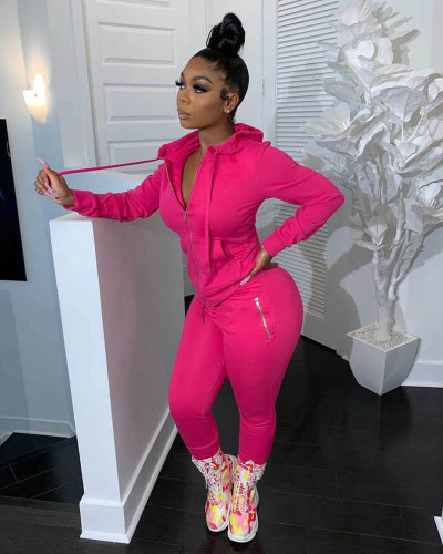 Pink Pure color zipper fashion casual sports two-piece suit
