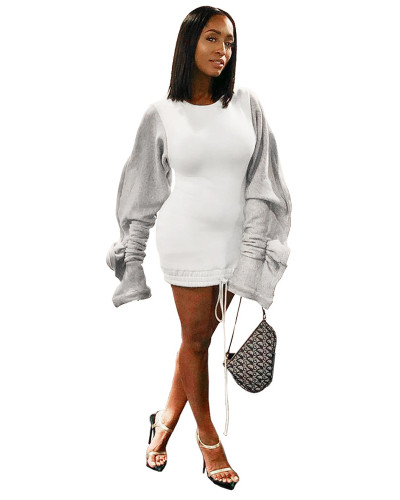 White Sexy dress with wood ear sleeves contrast stitching drawstring