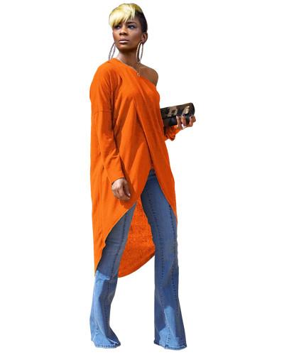 Orange Short front and back long cotton top dress