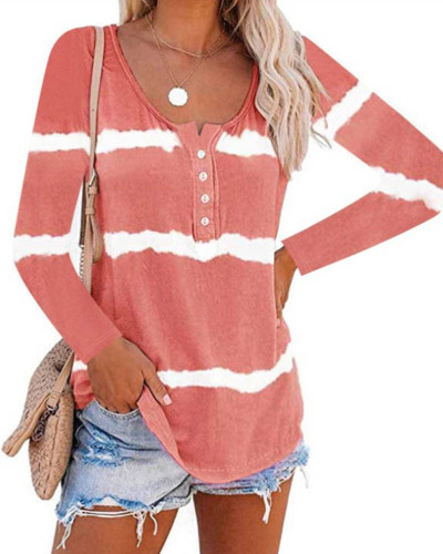 Red Tie-dye printed buttoned long-sleeved T-shirt