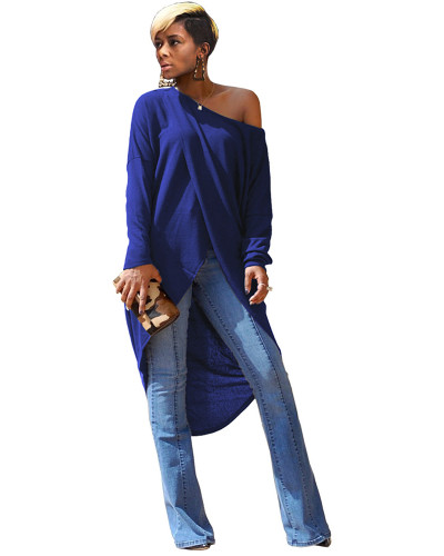 Blue Short front and back long cotton top dress
