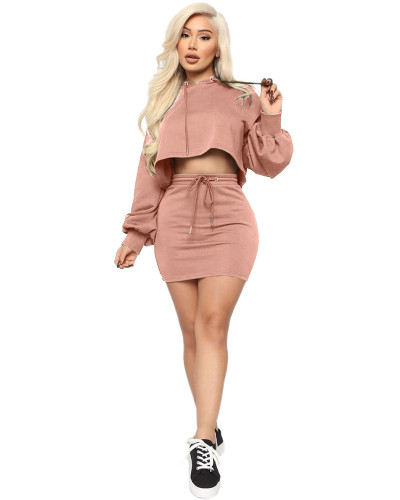 Pink Two-piece sexy hooded strappy solid color skirt suit