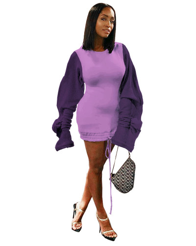 Purple Sexy dress with wood ear sleeves contrast stitching drawstring