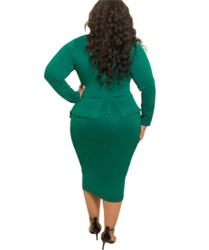 Green Bag hip skirt butterfly plus size dress