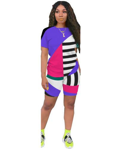 Purple Striped contrast color leisure sports two-piece suit