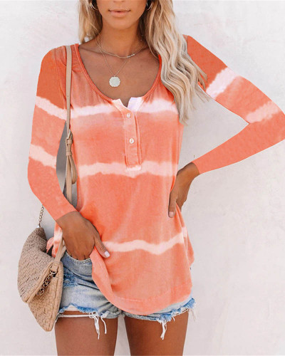 Orange Tie-dye printed buttoned long-sleeved T-shirt