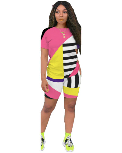 Pink Striped contrast color leisure sports two-piece suit