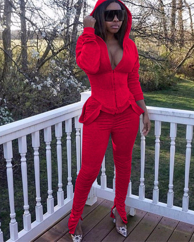 Red Two-piece casual solid color pleated sweater suit