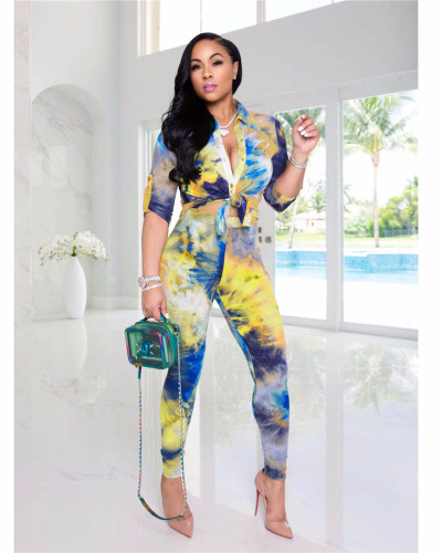 Yellow Two-piece casual tie-dye cardigan button suit