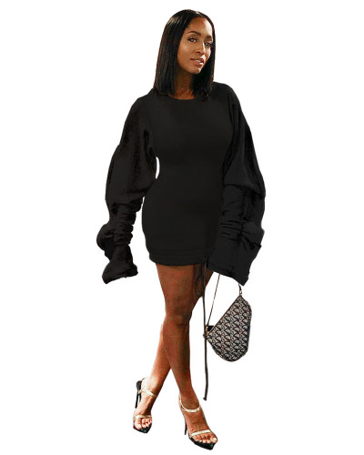 Black Sexy dress with wood ear sleeves contrast stitching drawstring