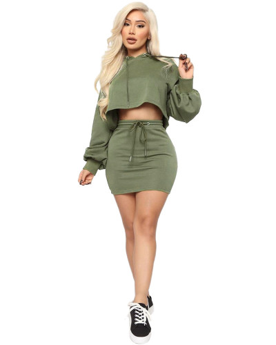 Green Two-piece sexy hooded strappy solid color skirt suit