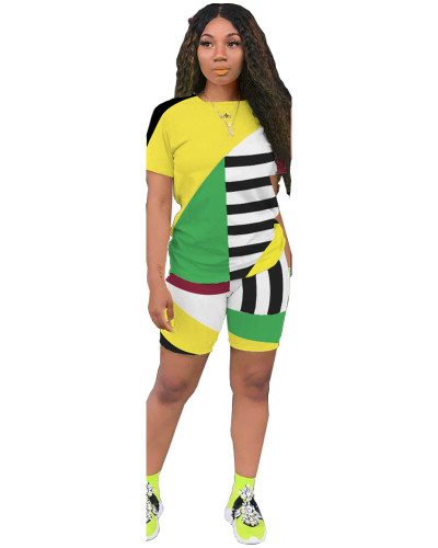 Yellow Striped contrast color leisure sports two-piece suit