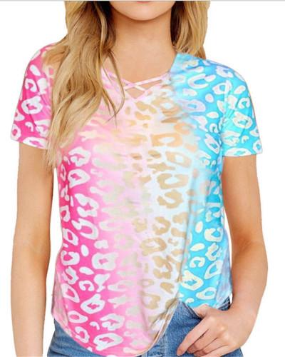 Rose red Printed rainbow gradient color V-neck cross shirt short-sleeved T-shirt