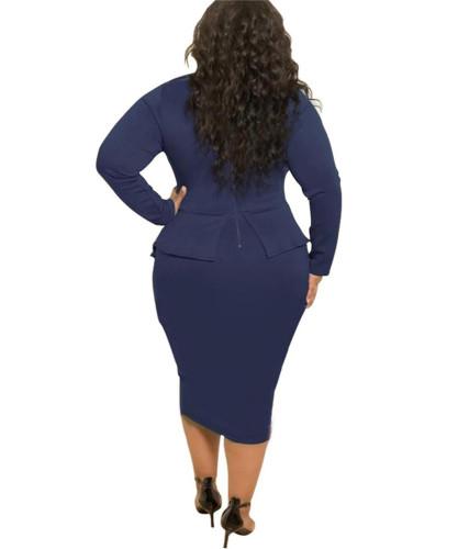 Blue Bag hip skirt butterfly plus size dress