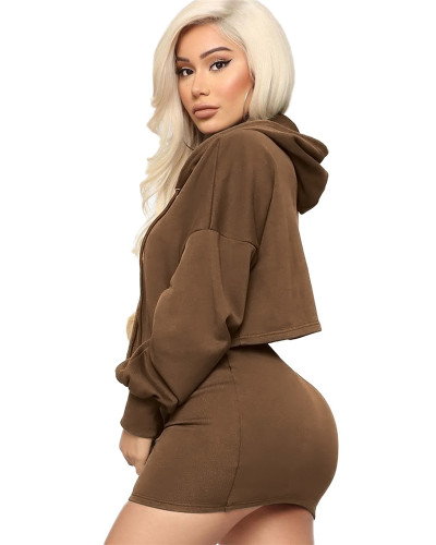 Brown Two-piece sexy hooded strappy solid color skirt suit