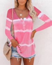 Pink Tie-dye printed buttoned long-sleeved T-shirt