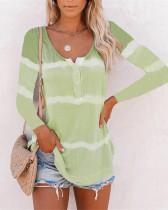 Light green Tie-dye printed buttoned long-sleeved T-shirt