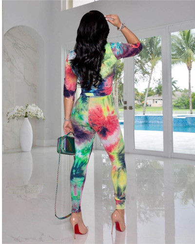 Green Two-piece casual tie-dye cardigan button suit